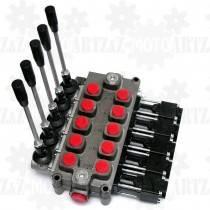 Rozdzielacz hydrauliczny manualno-pneumatyczny Q75 5-sekcyjny 90 l/min