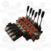 Rozdzielacz hydrauliczny Q45 6-sekcyjny 60l/min do pomocy drogowej 12 24V