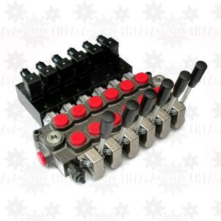 Rozdzielacz hydrauliczny GALTECH Q95 6-sekcyjny 120l/min manualno-elekrtyczny elektryczny 12V 24V