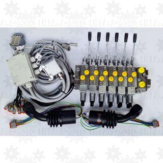 Rozdzielacz 6 sekcyjny proporcjonalny dźwigu HDS + 2 joysticki proporcjonalne do dźwigu leśnego wózka zrywkowego