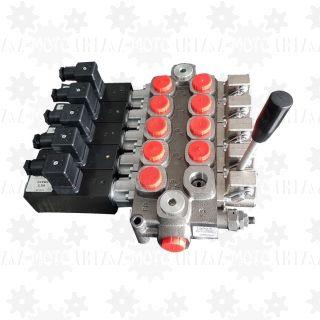 Rozdzielacz hydrauliczny GALTECH Q95 5-sekcyjny 120l/min manualno-elekrtyczny elektryczny 12V 24V